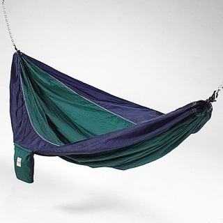 Hammaka 2-Person Parachute Silk Hammock Lightweight & Portable - Blue/Green