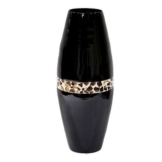 "24"" Spun Bamboo Vase - Bamboo In Black Lacquer W/ Brown Coconut Shell"