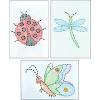 """Cute As A Bug - Stamped Embroidery Kit Beginner Samplers 6""""X8"""" 3/Pkg"""