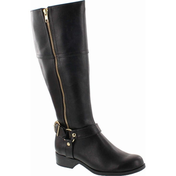 Soda Salsa By Soda Side Buckle Gold Zipper Knee High Riding Boots In Black Leatherette