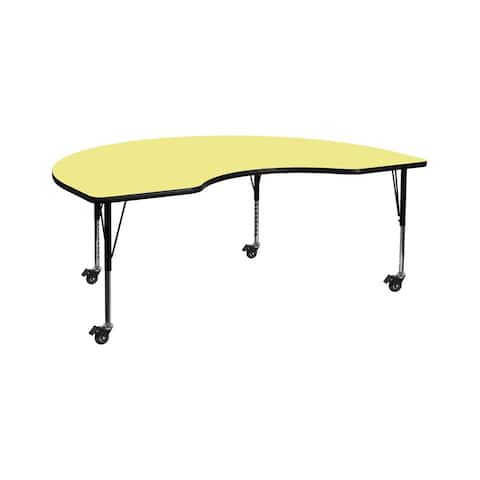 """Offex 48""""W x 72""""L Mobile Kidney Shaped Activity Table with Yellow Thermal Fused Laminate Top and Height Adjustable Preschool Leg"""