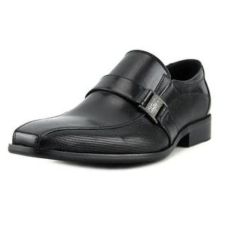 Kenneth Cole Reaction Big News Men  Square Toe Leather Black Loafer