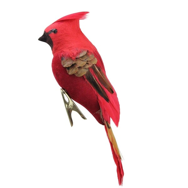 """5.5"""" Red and Pink Cardinal Bird Clip-On Christmas Ornament"""