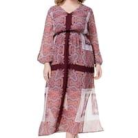 Monteau Purple Womens Size 2X Plus V-Neck Floral-Print Maxi Dress
