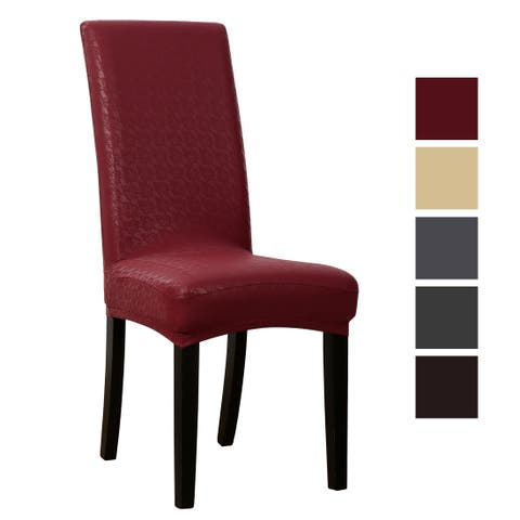 Unique Bargains Dining Room Chair Covers Stretch Artificial PU Fabric Leather