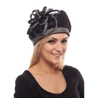 Empress Lace Beret Derby Hat with Rhinestone Brim