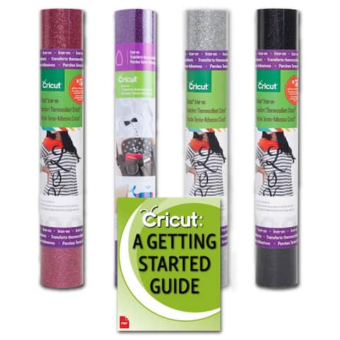 Cricut Glitter Htv Iron-On Rolls Bundle  Black, Pink, Eggplant, Silver, 12X19in
