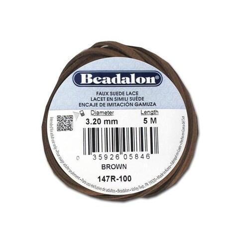 """Beadalon Faux Suede Lace .13"""" Brown 5M"""