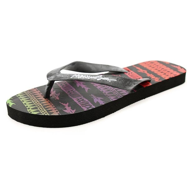 Maui And Sons Sharky Tribe Men Open Toe Synthetic Black Flip Flop Sandal