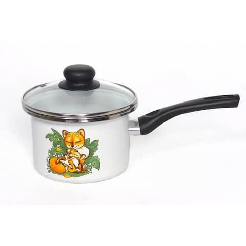 STP Goods Baby Foxes Enamel on Steel 1.6-quart Saucepan w/Lid