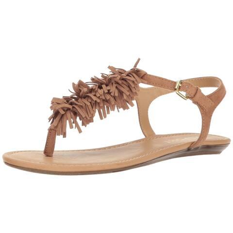 Report Women's Shoes Beige Size 7.5M Landry Flat T-Strap Fringe Sandals