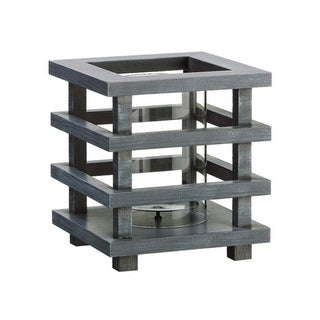"8"" Gray Brushed Wooden Pagoda Tower Pillar Candle Holder"