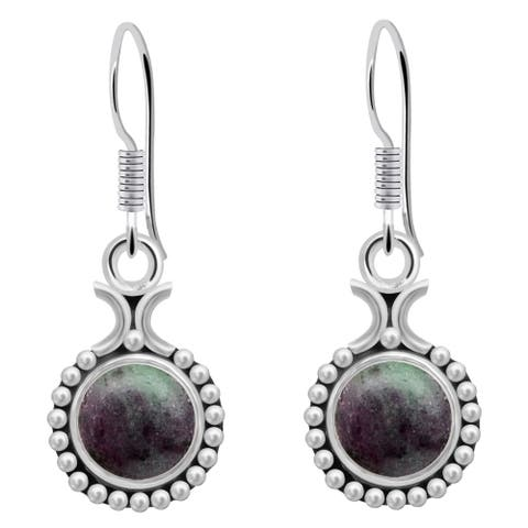 Amethyst,Zoisite Sterling Silver Round Dangle Earrings by Orchid Jewelry