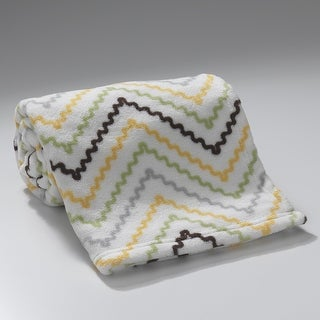 Lambs & Ivy Brown Giraffe Collection Chevron Coral Fleece Blanket