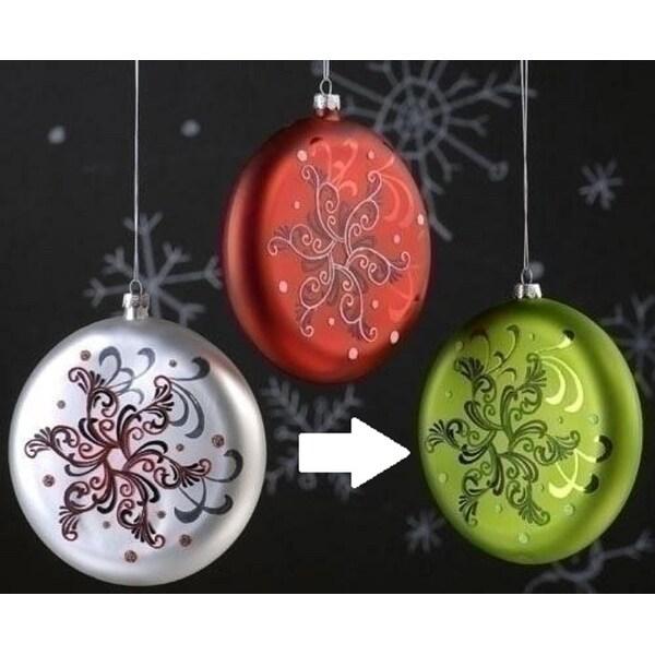 "5.5"" Holiday Cheer Green Glass Snowflake Christmas Disk Ornament"