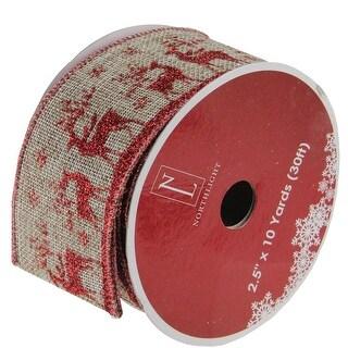 "Wandering Red Reindeer Brown Burlap Wired Christmas Craft Ribbon 2.5"" x 120 Yards"