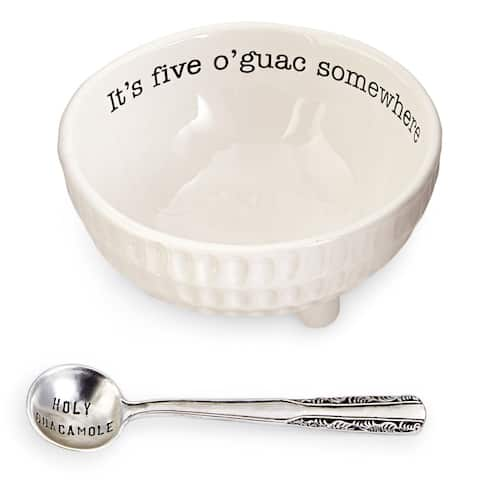 Mud Pie 4851076 Guacamole Serving Dish Set, White - 4 in. x 4 in. x 4 in.