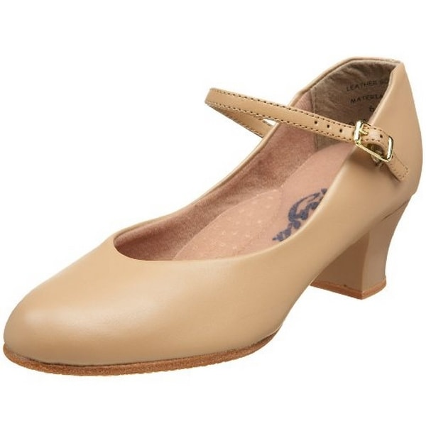 Capezio Women's Jr. Footlight Character Shoe,Caramel,9.5 M Us