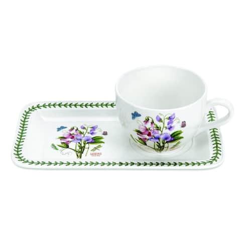 Portmeirion Botanic Garden Soup & Sandwich Set (Sweet Pea) - 11.25 inch x 6.75 inch tray / 20 ounce cup