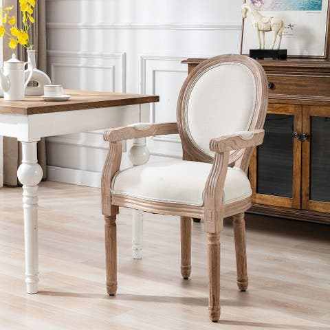French Vintage Upholstered Fabric Dining Armchair