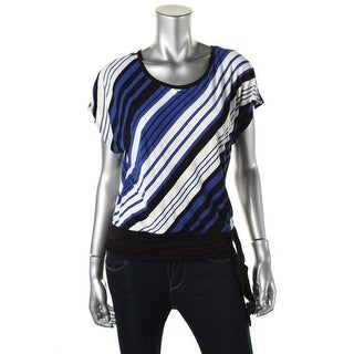 BCX Womens Juniors Casual Top Jersey Striped