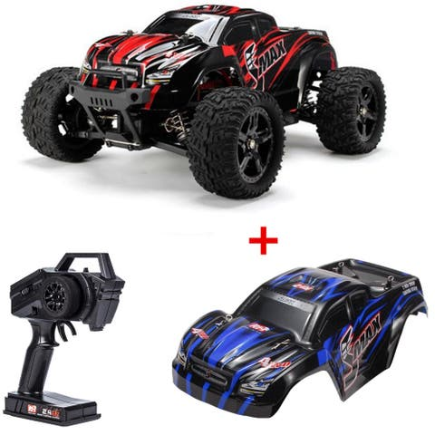 REMO HOBBY 4WD RC Brushed Car 1631 1/16 Scale Off-road Short-haul Monster Truck Blue+Extra 1 Red shell