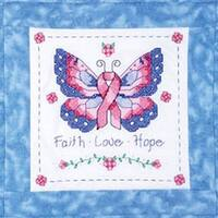 """Butterfly Of Hope - Stamped Cross Stitch Quilt Blocks 15""""X15"""" 6/Pkg"""