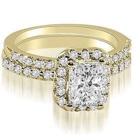 1.34 cttw. 14K Yellow Gold Emerald Cut Halo Diamond Bridal Set