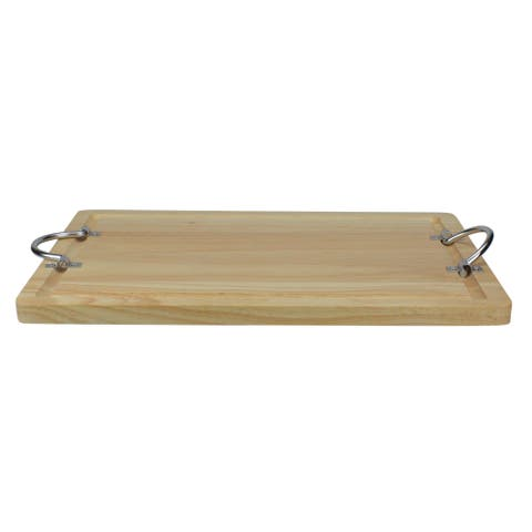 """17"""" Rectangular Wooden Carving Board With Silver Folding Handles - N/A"""