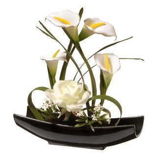 "11"" Potted White Rose and Calla Lily Flowers"