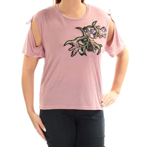 BUFFALO Womens Pink Embroidered Sequined Short Sleeve Jewel Neck Top Size: L