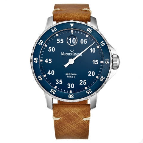 MeisterSinger Men's SAMX908 'Salthora Meta X' Blue Dial Ceramic Bezel Swiss Automatic Watch