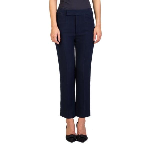 Miu Miu Women's Viscose Slim Fit Pants Navy