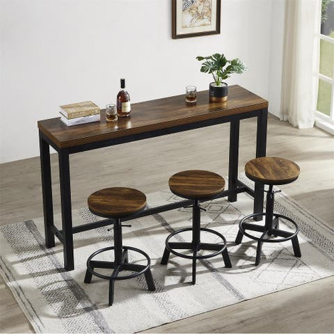 4PCS Dining Room Table Set With Bar Table And 3 Adjustable Bar Stools