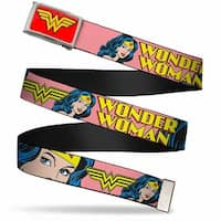 Wonder Woman Logo Fcg Red  Chrome Wonder Woman W Face Close Up Red Web Belt