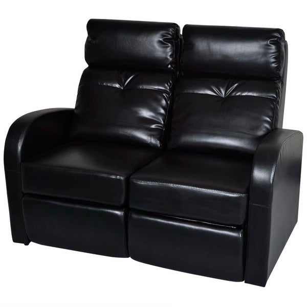 Vidaxl Artificial Leather Home Cinema Recliner Reclining Sofa 2 Seat Black