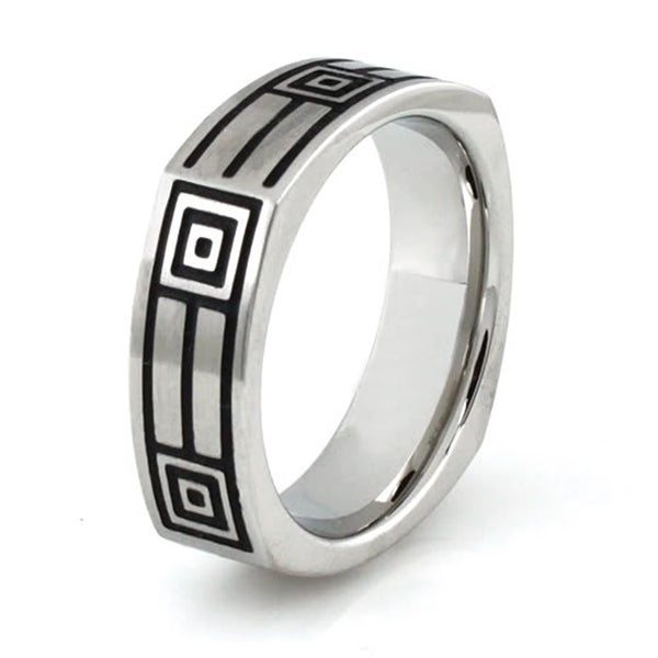 Squared Stainless Steel Ring w/ Greek Pattern