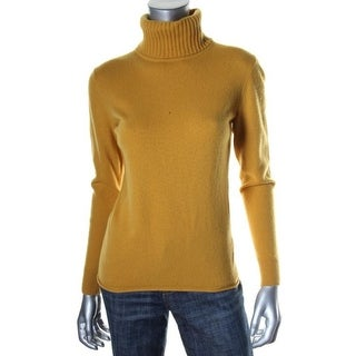 Lafayette 148 Womens Wool Blend Ribbed Trim Turtleneck Sweater