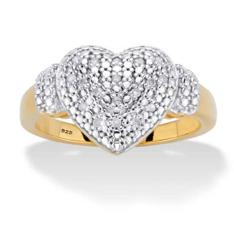 Yellow Gold over Sterling Silver Genuine Diamond Heart Ring (1/10 cttw, IJ Color, I2-I3 Clarity)