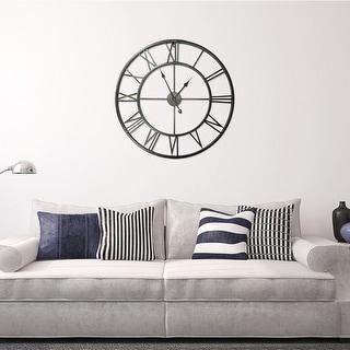 Link to Walplus Minimalist Large Roman Black Silver Gold Metal Iron Wall Clock Similar Items in Decorative Accessories