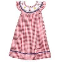 Bonnie Jean Little Girls Red Checkered Print Star Flag Applique Dress