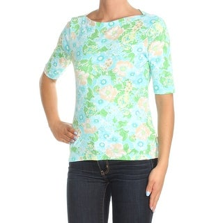 Womens Blue Green Floral 3/4 Sleeve Boat Neck Casual Top Size XS