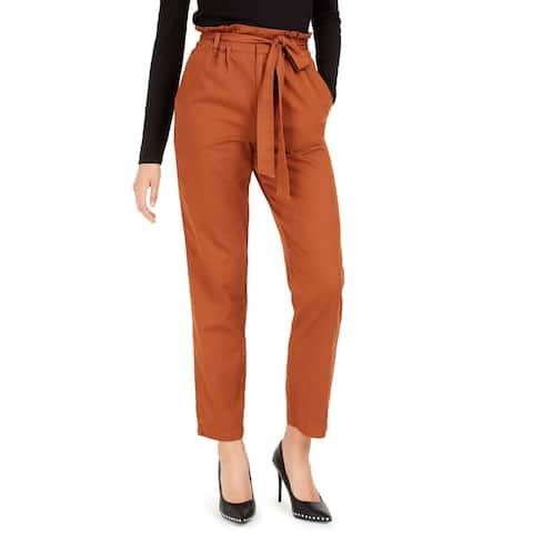 Bar III Women's Becca Tilley X Paperbag-Waist Pants Brown Size Medium