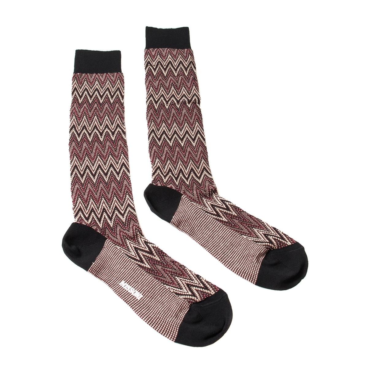 Missoni GM00CMU5242 0001 Burgundy//Cream Knee Length Socks