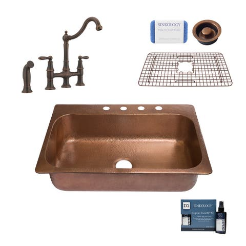 """Angelico 33"""" Drop-in Copper Kitchen Sink with Bridge Faucet and Disposal Drain"""