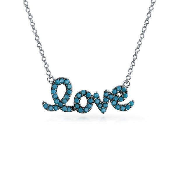 ba50d02aa08 Shop .925 Sterling Silver Lab Created Turquoise Love Pendant Necklace 16  Inches - On Sale - Free Shipping On Orders Over  45 - Overstock - 17987007