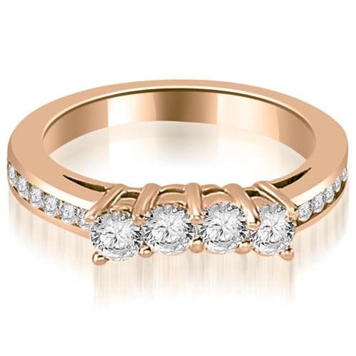0.92 cttw. 14K Rose Gold Round Cut Diamond Wedding Band