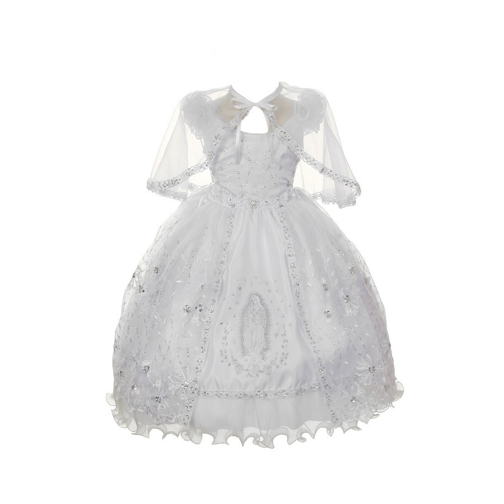 Rain Kids Baby Girls White Organza Rhinestone Baptism Cape Dress 6-12M