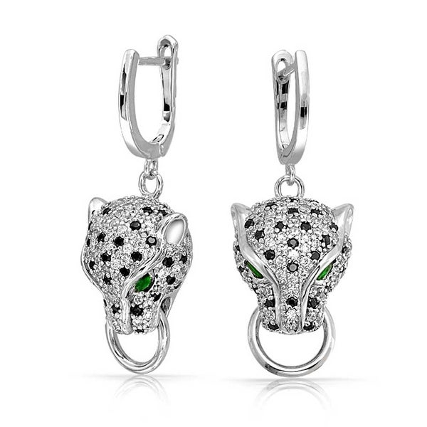 Bling Jewelry Green Cz Panther Earrings Rhodium Plated Br