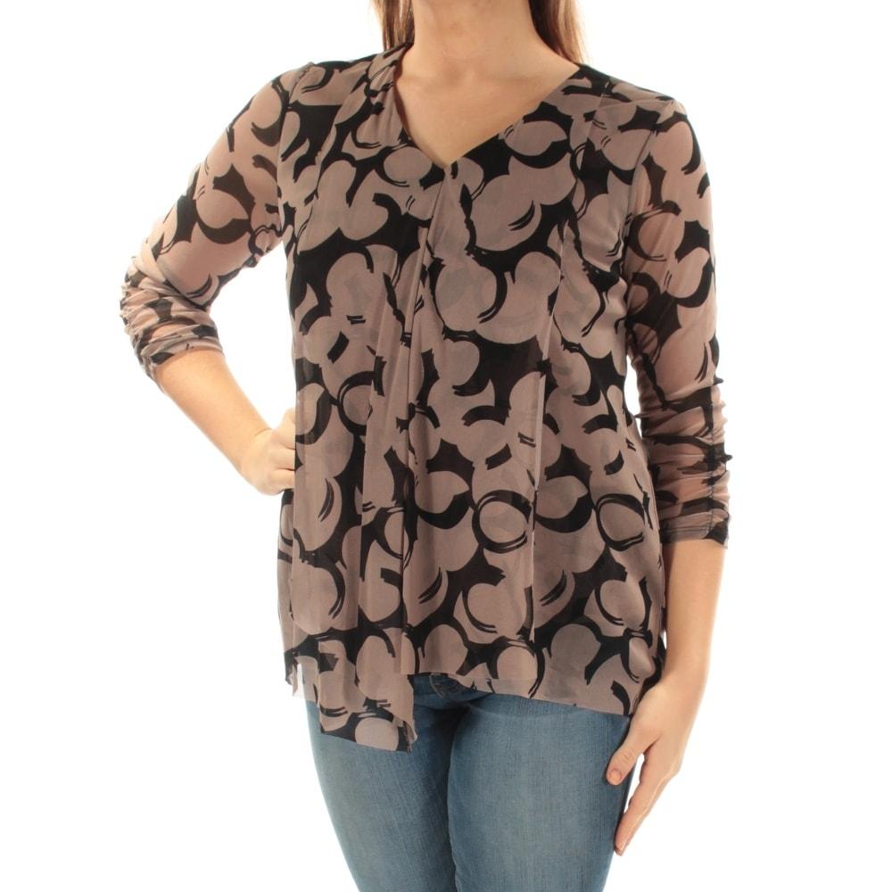 Alfani Womens 3//4 Sleeve Button Down Shirt White Black Brown Size 16W 20W NEW